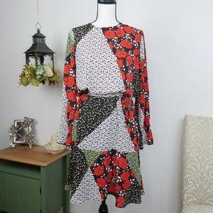 Libby Edelman Blouson Style Dress Floral Print